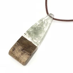 Wood Resin Green Necklace   boho jewelry